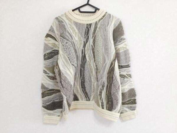 クージー 長袖セーター サイズS メンズ ライトグレー×ダークブラウン×マルチ