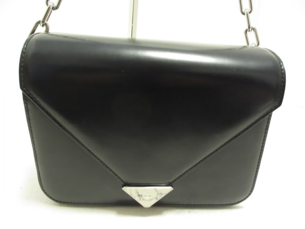 アレキサンダーワン ショルダーバッグ - 黒×シルバー レザー×金属素材