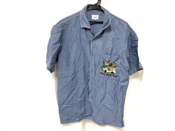 カステルバジャックスポーツ 半袖シャツ サイズ2 M メンズ美品  ブルー×マルチ 刺繍