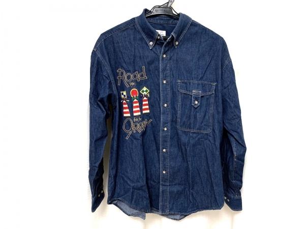 カステルバジャックスポーツ 長袖シャツ サイズ2 M メンズ美品  ブルー×マルチ