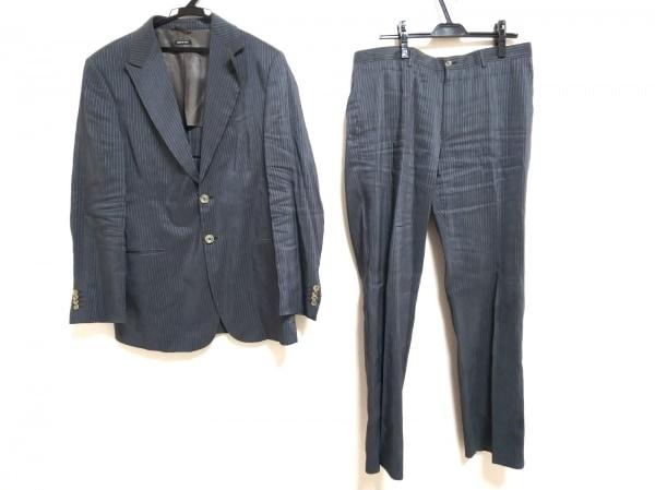 ジョルジオアルマーニ シングルスーツ サイズ52 L メンズ グレー×ライトグレー