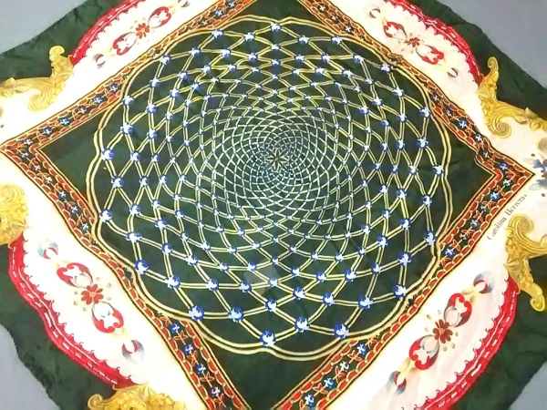 CAROLINA HERRERA(キャロリーナ ヘレラ) スカーフ ダークグリーン×マルチ