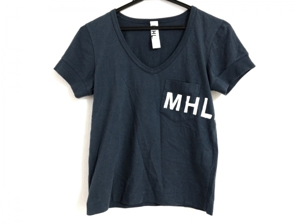 MHL.(マーガレットハウエル) 半袖Tシャツ サイズ1 S レディース ネイビー×白