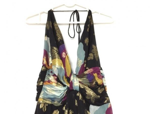nicole miller(ニコルミラー) ドレス サイズ2 M レディース 黒×マルチ マキシ丈/ラメ