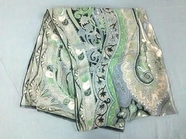 ETRO(エトロ) スカーフ新品同様  ダークグレー×ダークグリーン×マルチ ペイズリー柄