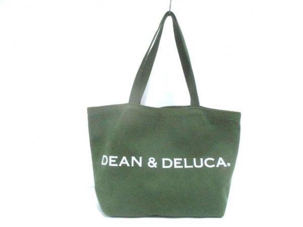 DEAN&DELUCA(ディーンアンドデルーカ) トートバッグ グリーン×白 キャンバス