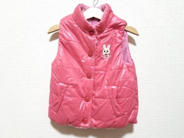 miki HOUSE(ミキハウス) ダウンベスト サイズ90 レディース ピンク×白×マルチ