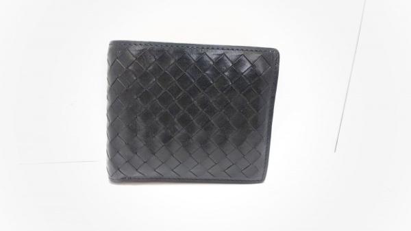 COCOMEISTER(ココマイスター) 2つ折り財布 黒 編み込み レザー