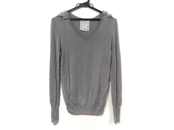 BEARDSLEY(ビアズリー) 長袖セーター サイズF レディース美品  ライトグレー フリル