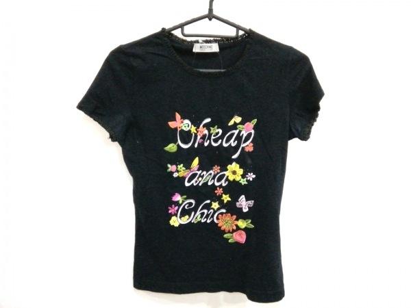 MOSCHINO(モスキーノ) 半袖Tシャツ レディース 黒×マルチ 刺繍