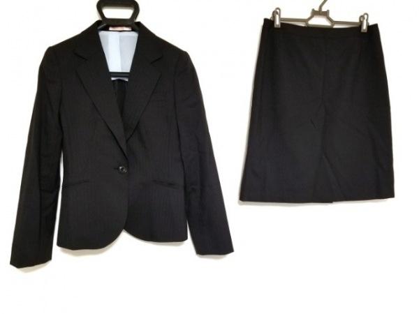 LES MUES(レミュー) スカートスーツ サイズS レディース 黒 ストライプ
