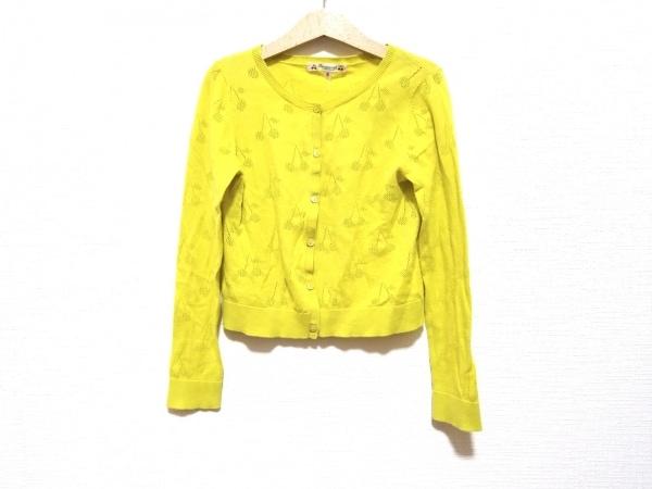 ボンポワン カーディガン サイズ8 M レディース美品  ライトグリーン チェリー/子供服