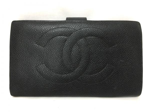 CHANEL(シャネル) 2つ折り財布 キャビアスキン ライトグレー×黒 キャビアスキン