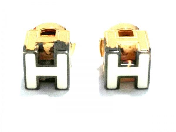 HERMES(エルメス) ピアス カージュドアッシュ 金属素材 ゴールド×アイボリー