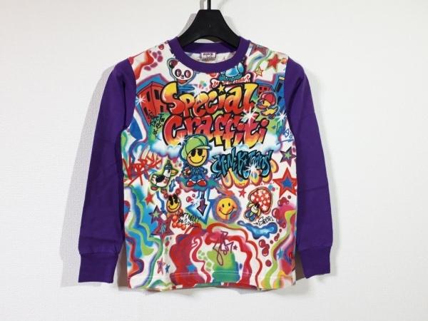 ミニK 長袖Tシャツ サイズ140 レディース新品同様  パープル×白×マルチ 子供服