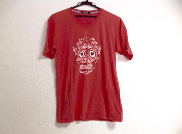 GUILD PRIME(ギルドプライム) 半袖Tシャツ メンズ ピンク スカル/ハート/ビーズ
