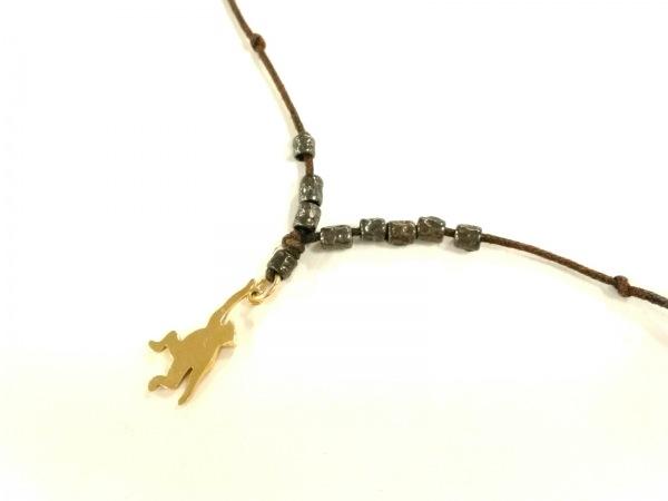 ポメラート ネックレス美品  化学繊維×プラスチック×K18YG ダークブラウン サル