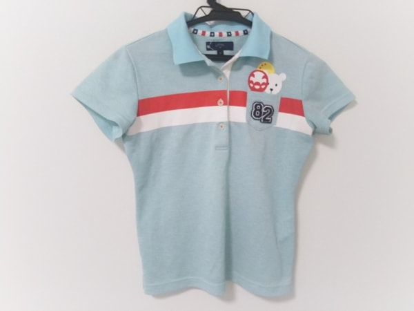 CALLAWAY(キャロウェイ) 半袖ポロシャツ レディース ライトブルー×白×マルチ