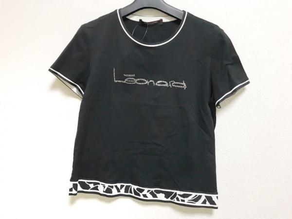 LEONARD(レオナール) 半袖カットソー サイズLL レディース美品  黒×アイボリー