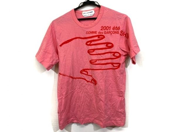 コムデギャルソンシャツ 半袖Tシャツ サイズM レディース ピンク×レッド 手