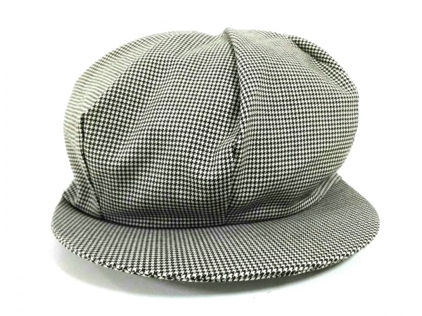 コムデギャルソンオムプリュス 帽子 黒×アイボリー 千鳥格子 ウール