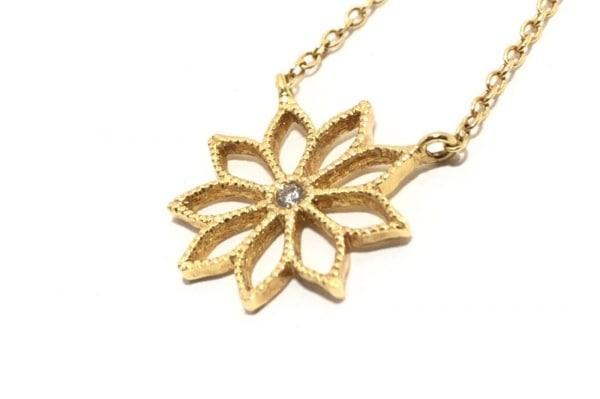 hum(ハム) ネックレス美品  K18YG×ダイヤモンド 1Pダイヤ/フラワー