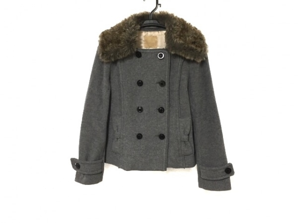 クローラ コート サイズ36 S レディース美品  グレー×ブラウン 冬物/フェイクファー