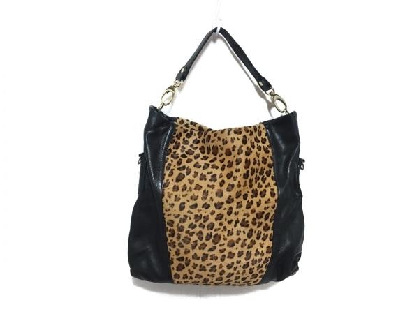 ピエトロアレサンドロ ハンドバッグ 黒×ライトブラウン×ダークブラウン 豹柄