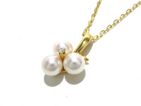 ミキモト ネックレス美品  K18YG×パール×ダイヤモンド アイボリー 1Pダイヤ
