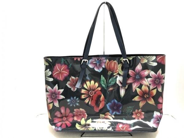 LAURA DI MAGGIO(ローラディマジオ) ハンドバッグ美品  黒×ネイビー×マルチ 花柄