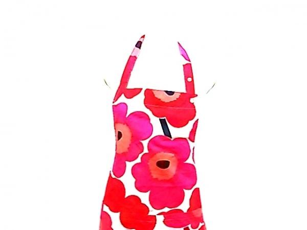 marimekko(マリメッコ) ワンピース レディース 白×ピンク×マルチ 花柄/エプロン