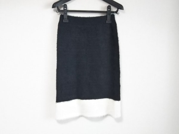 LOVELESS(ラブレス) スカート サイズ36 S レディース 黒×白 ニット/起毛