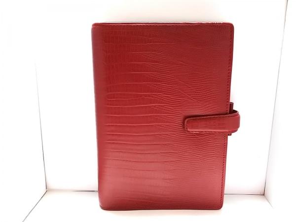 Filofax(ファイロファックス) 手帳美品  PERSONAL TOPAZ レッド 型押し加工 レザー