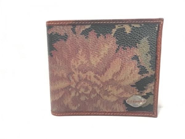 iSanti(イサンテ) 2つ折り財布美品  ブラウン×黒×ダークグリーン 花柄 レザー