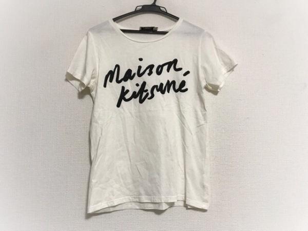 MAISON KITSUNE(メゾンキツネ) 半袖Tシャツ サイズS レディース美品  アイボリー×黒