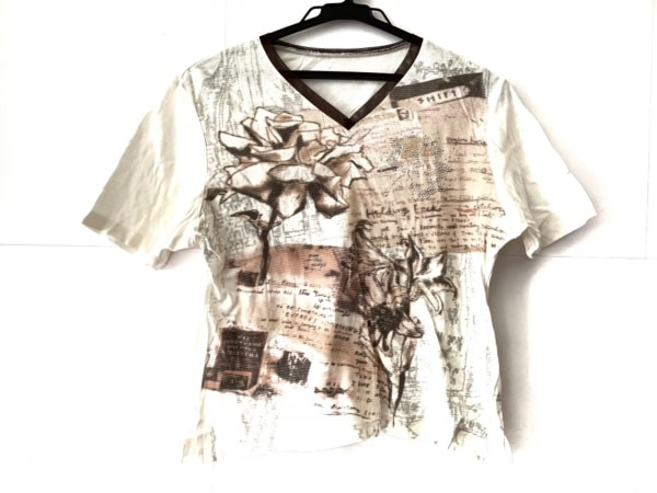 Dear(ディア) 半袖Tシャツ レディース 白×オレンジ×マルチ Vネック