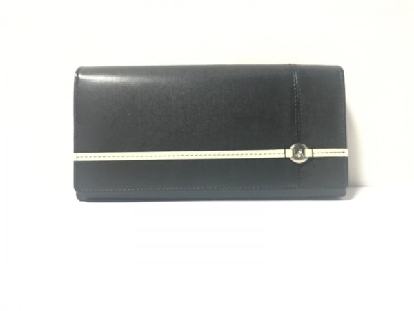8532daf868c0 アニエスベー 長財布美品 黒×アイボリー VOYAGE PVC(塩化ビニール)×レザー