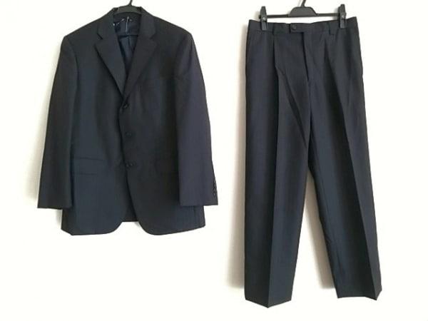 ランバンコレクション シングルスーツ サイズR46 メンズ 黒×グレー