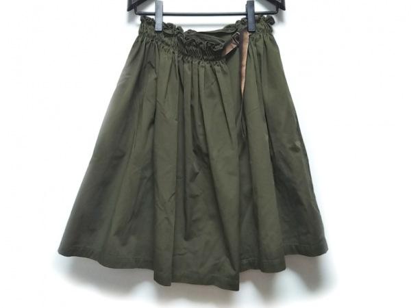 ロイスクレヨン ロングスカート サイズM レディース美品  カーキ ギャザー/フリル