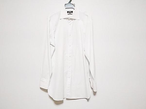 バーバリーブラックレーベル 長袖シャツ サイズ41 メンズ 白×ダークグレー