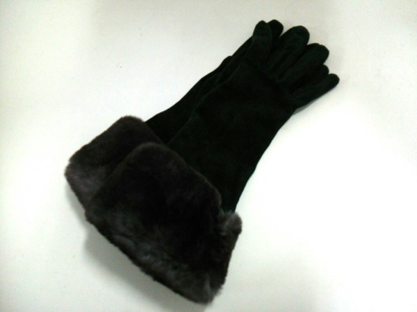 CAUSSE(コス) 手袋 8 レディース美品  黒×グレー×ダークブラウン スエード×ファー