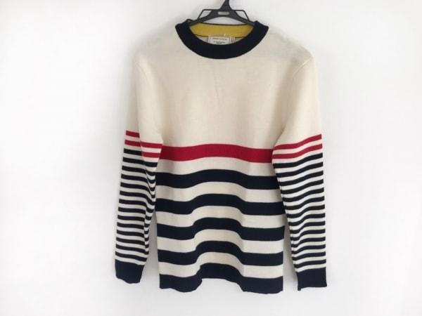 メゾンキツネ 長袖セーター サイズS メンズ アイボリー×ネイビー×レッド ボーダー