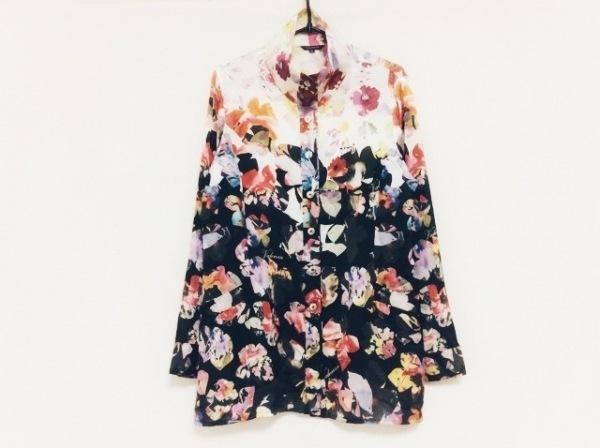 バレンザ 長袖シャツブラウス サイズ42 L レディース美品  白×黒×マルチ 花柄