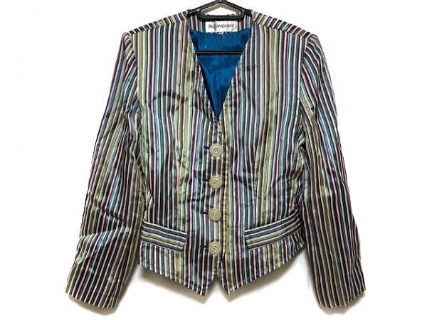 イヴサンローラン ジャケット サイズ36 S レディース美品  白×ブルー×マルチ