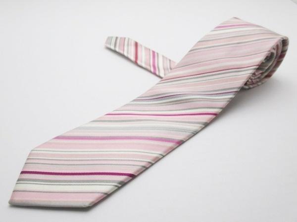 PaulSmith(ポールスミス) ネクタイ メンズ ピンク×グレー×マルチ 斜めストライプ
