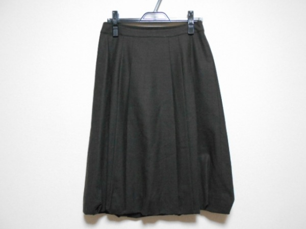 ヨシエイナバ バルーンスカート サイズ9 M レディース ダークブラウン プリーツ