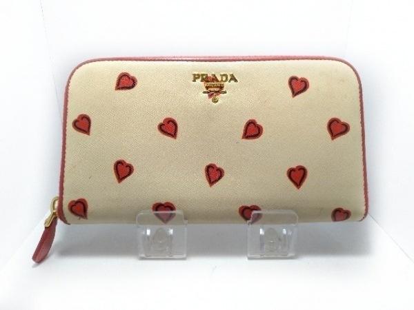 プラダ 長財布 - 1M0506 アイボリー×レッド ハート/ラウンドファスナー レザー