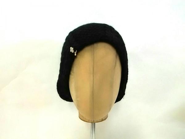CA4LA(カシラ) ニット帽美品  黒 ラインストーン コットン×アンゴラ×ナイロン