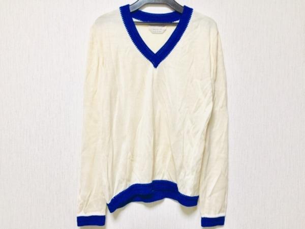 アンドレア インコントリ 長袖セーター サイズ40 M レディース アイボリー×ブルー