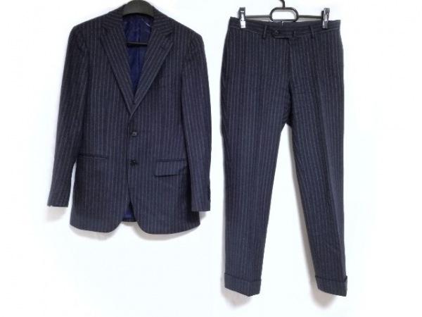 ビームスエフ シングルスーツ サイズ44 L メンズ ネイビー×黒×ライトグレー